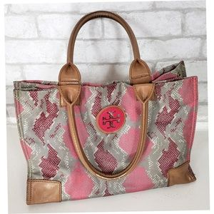 Tory Burch Pink Snakeskin Ella Tote Authentic V11